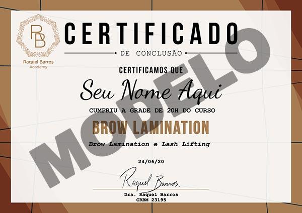 Certificado Curso Brow Lamination Online