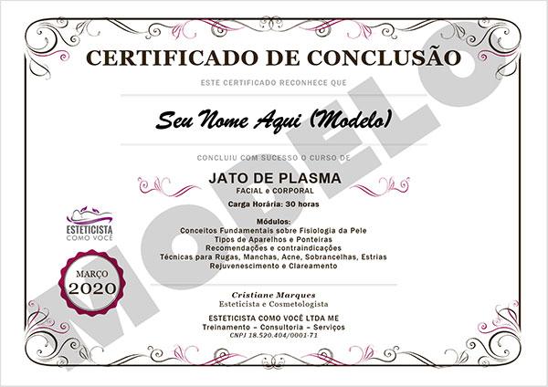 Certificado Curso Jato de Plasma Online